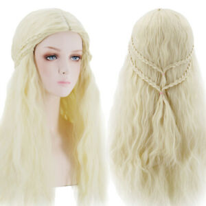 Fashion-Women-Blonde-Long-Wave-Hair-Wig-Braids-Synthetic-Full-Wigs-Cosplay