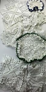 Vtg Hand-Crocheted Doilies Lot of 17 Various Sizes Shapes Very Good Condition
