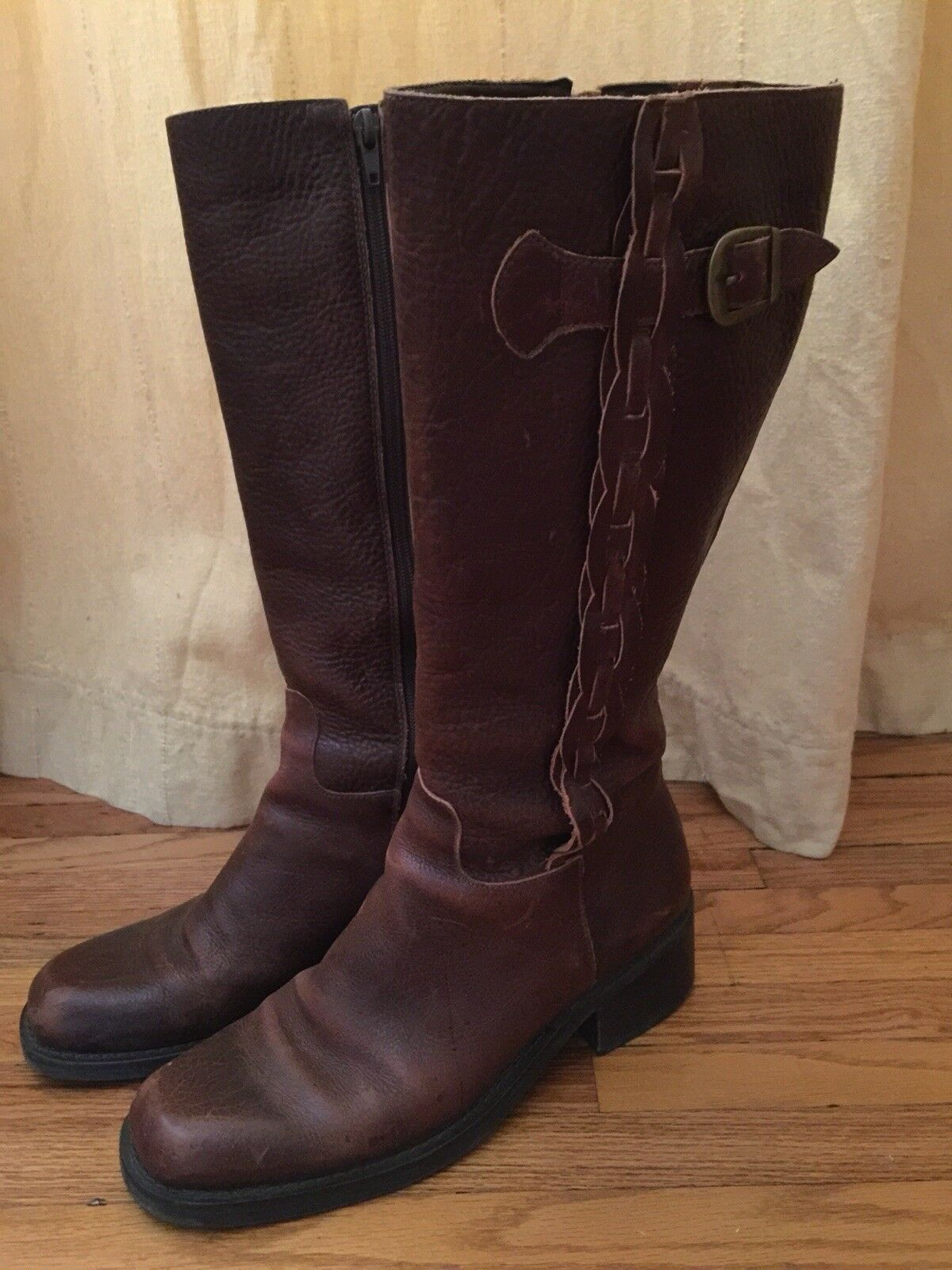 Nicole Brown Leather Distressed Mid Calf Braided Boots US Size 8