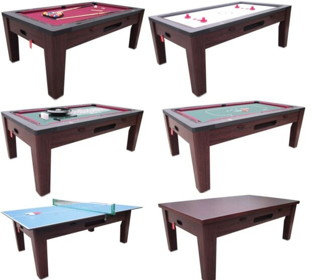 6 In 1 Combo Game Table Pool Air Hockey Ping Pong Roulette Poker Dining Walnut