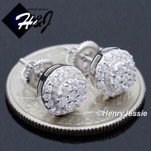 MEN-WOMEN-925-STERLING-SILVER-ROUND-8MM-LAB-DIAMOND-BLING-STUD-EARRING-E32