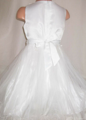 GIRLS CREAMY WHITE SPARKLY SEQUIN TRIM SATIN TULLE PRINCESS PAGEANT PARTY DRESS