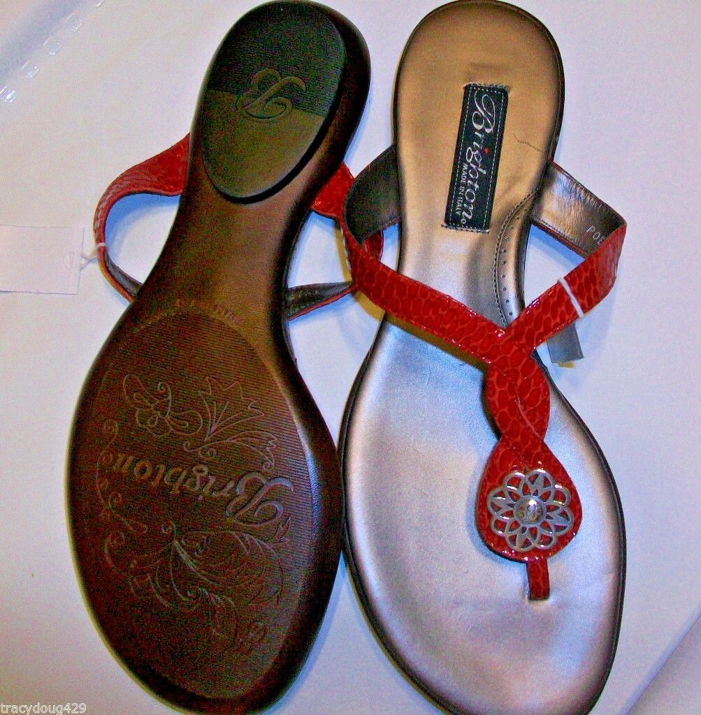 NWT Brighton Poetry Cherry Red Snake Skin Embossed Patent Pelle Sandals 8 M