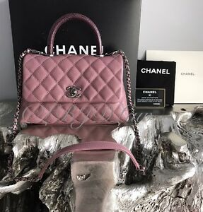 1ae80297616f NWT CHANEL CoCo Handle Pink Caviar Mini KELLY Flap Burgundy Lizard ...