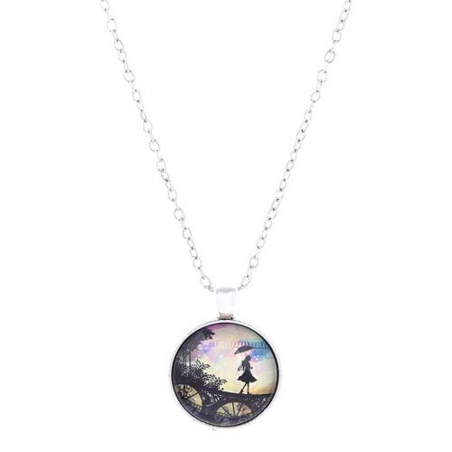 Retro Shadow Glass Cabochon Necklace Charm Pendant Silver Chain Tibetan Jewelry