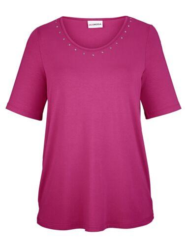 MIAMODA Shirt kurzarm shirt ohne muster gerade hüftlang elastisch Nieten