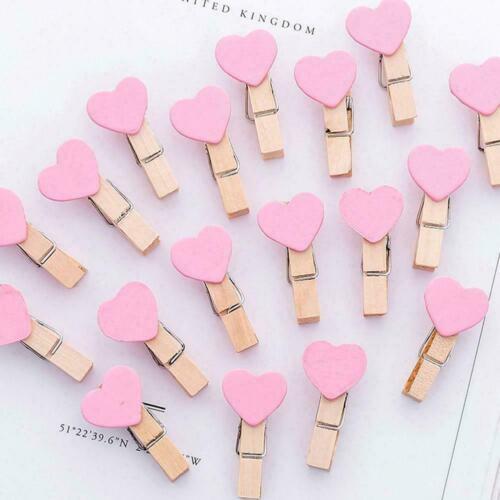 Photo Paper Clip Mini Wooden Wedding Decor Clip Crafts New Pegs Heart Q1N1