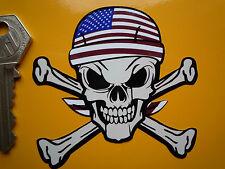USA Stars & Stripes AMERICAN Flag BANDANA Skull & Crossbones Sticker Custom Cool