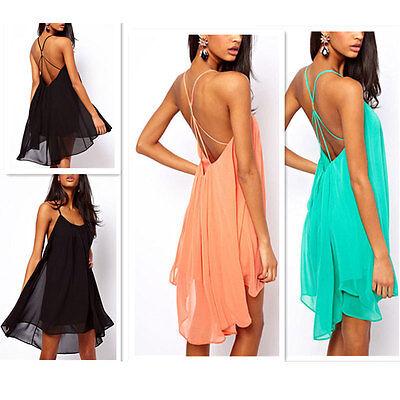 Sexy Women's Backless Sling Strap Back Chiffon Clubwear Evening Mini Party Dress