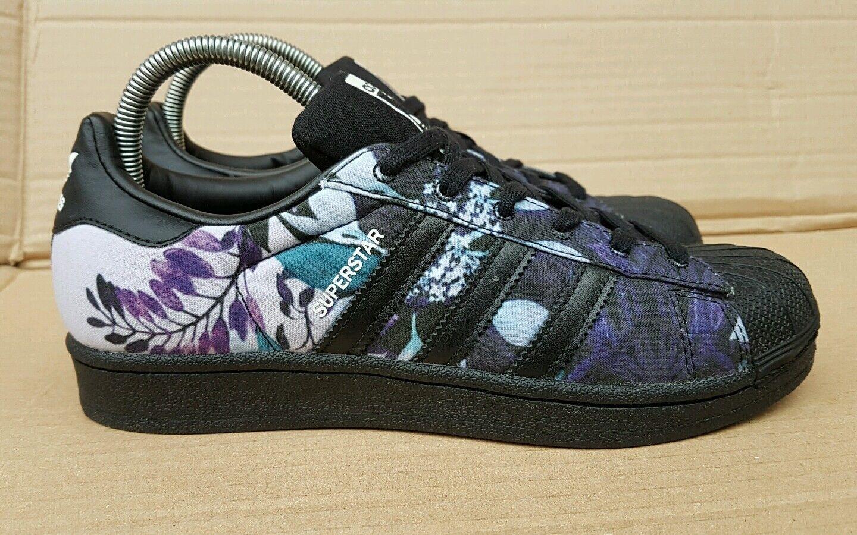 Gran descuento ** RARA ** Adidas Superstar Zapatillas Reino Unido Negro Floral Inmaculada