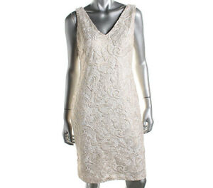 NEW-Womens-Ralph-Lauren-Lace-Ivory-amp-Gold-Party-Cocktail-Formal-Dress-Size-AU-6