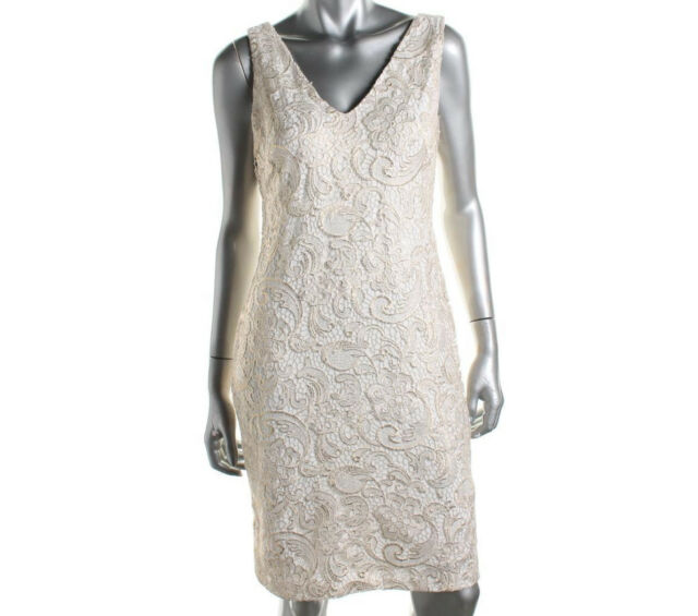 NEW Womens Ralph Lauren Lace Ivory & Gold Party Cocktail Formal Dress Size AU 6