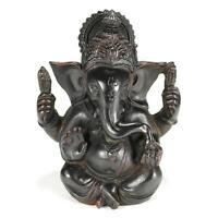 "GANESHA STATUE 4.75"" Hindu Elephant God HIGH QUALITY Dark Resin Sitting Ganesh"