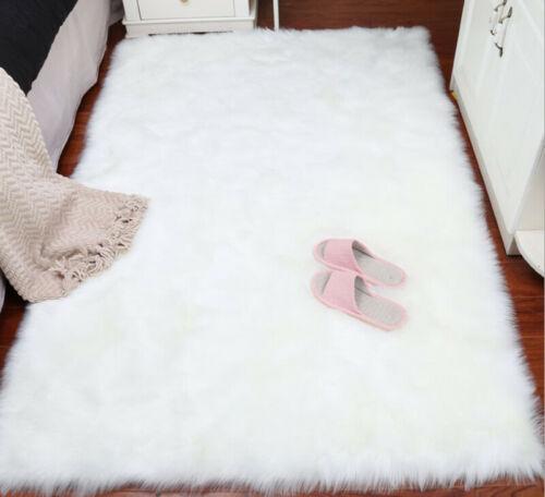 Soft Faux Fur Sheepskin Rug Balcony Rectangle Floor Carpet Home Bedroom Mat