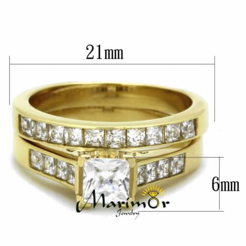 His /& Her 2.50Ct Stainless Steel Gold Plated Bridal Ring Set /& Men Zirconia Band