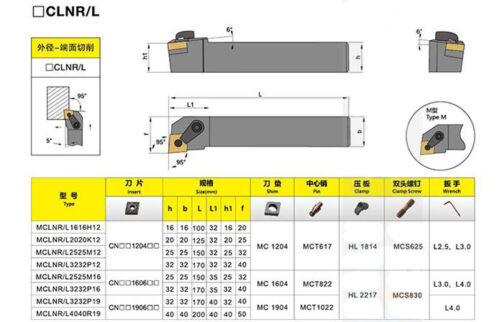 MCLNL 2020K12 20×125mm Index External Lathe Turning Holder For CNMG1204 inserts