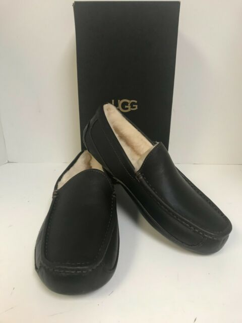 UGG Men's Ascot China Tea Leather Sheepskin Lined Slippers