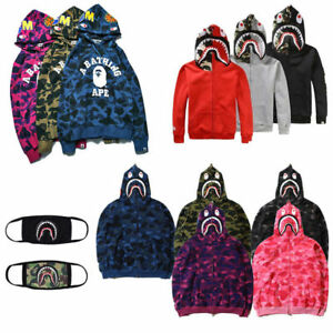 395518a56e7b Men s Coat A Bathing Ape Hoodie BAPE Sweater Shark Jacket Pullover ...