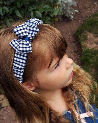 : All Sizes available from Preemie to Adult : Navy Gingham Ruffled Headband