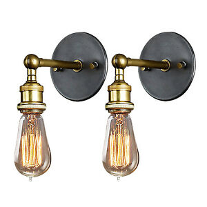 Wall Sconce Industrial Modern : 2Pcs Vintage Industrial Modern Wall Sconce Light Lamp E27 Socket Edison Style UK eBay