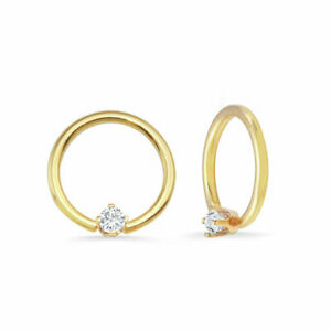 14k Solid Yellow Rose White Gold Fixed Prong Seamless Ring Nipple body jewelry Helix Daith Conch Lobe Tragus Piercing