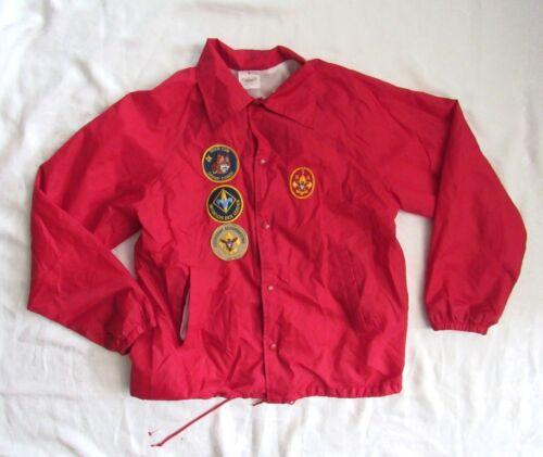 L Men's Vintage Red Boy Scout Windbreaker Jacket w