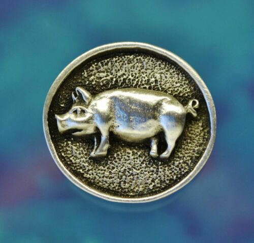 24 mm Pig Buttons in Fine PewterSet of TWO15//16 Inch Made in USA