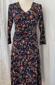 Ladies-Joe-Browns-Dress-BNWT-UK-Size-10-Brown-Blue-Floral-V-Neck-Front-amp-Back