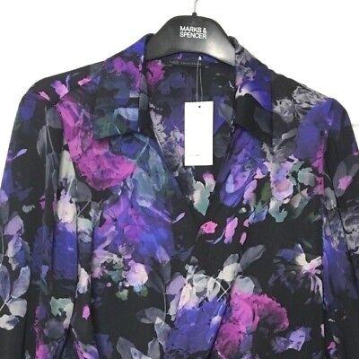 Per Una pink /& black Floral tie side Top  BNWOT SIZES 8 OR 10
