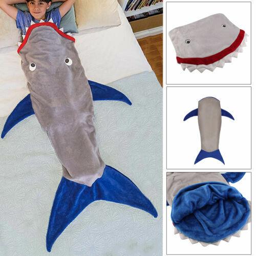 Kids Shark Mermaid Tail Fleece Blanket Snuggle-in Cosy Sleeping Bag