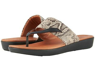 fd8a9aa6a Women s Shoes FitFlop Delta Toe Thong Sandal K33-586 TAUPE SNAKE  BLACK  New