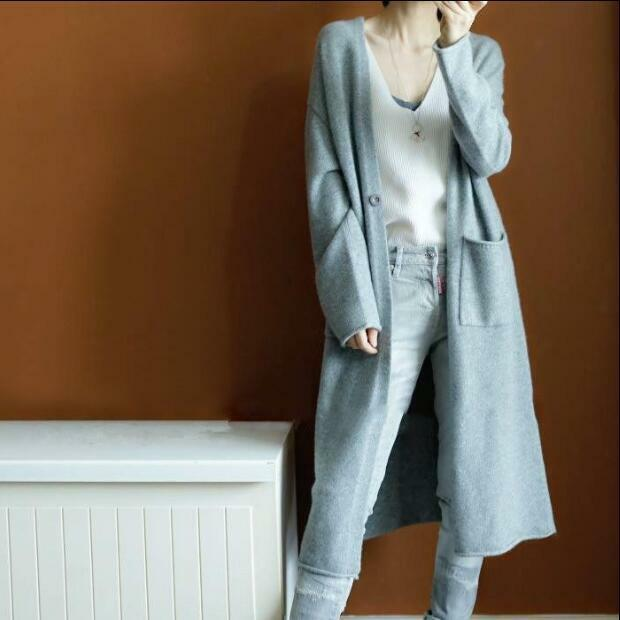 Womens Wool Blend Knitted Coats Loose casual Slim Fit Cardigan Long Sleeve Parka