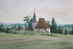 Gustav-Mueller-Aquarell-Kirchlein-von-Kroeelstein-29-September-1925
