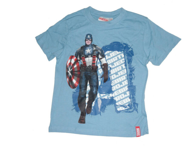 Boys T-Shirt Tops Official Avengers Captain America Green  5-12 Years Old