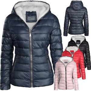 new product 8fcfb e015b Details zu Damen Winterjacke gefüttert Stepp Daunen Optik Kapuze Skijacke  warm
