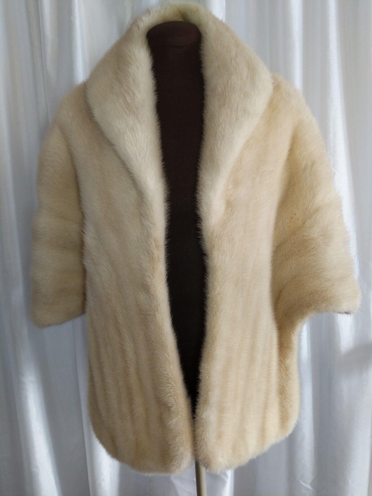 Charmante Natural Opaline Mink Fur Stole L-XL Original Storage Bag Fur Appraisal
