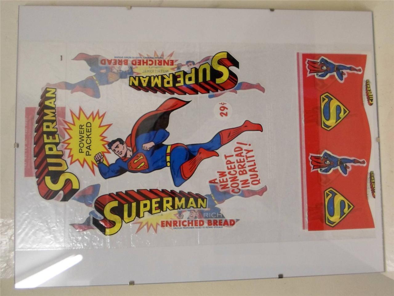 DC Promo ad SUPERMAN vintage USA BREAD WRAPPER from circa 1966 comic book style