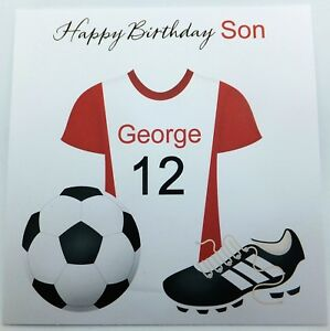 Image Is Loading Personalised Birthday Card FootBall Son Grandson Nephew Godson
