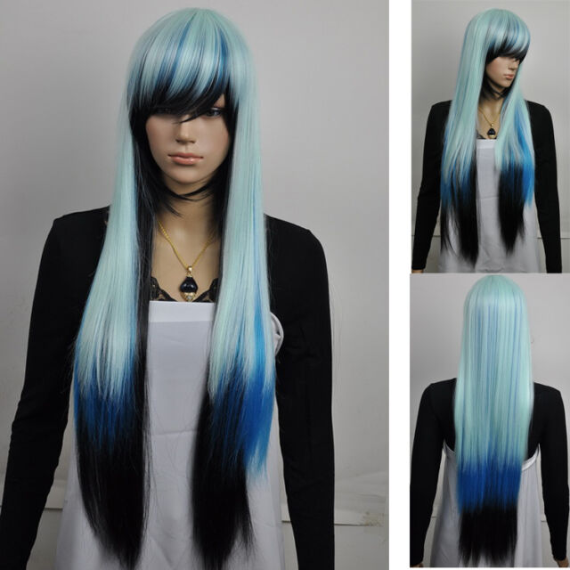 Fancy-dress party cosplay long straight blue black mix full hair wig