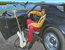 Jimi Hendrix & his 1969 Corvette Stingray limited edition poster art Woodstock