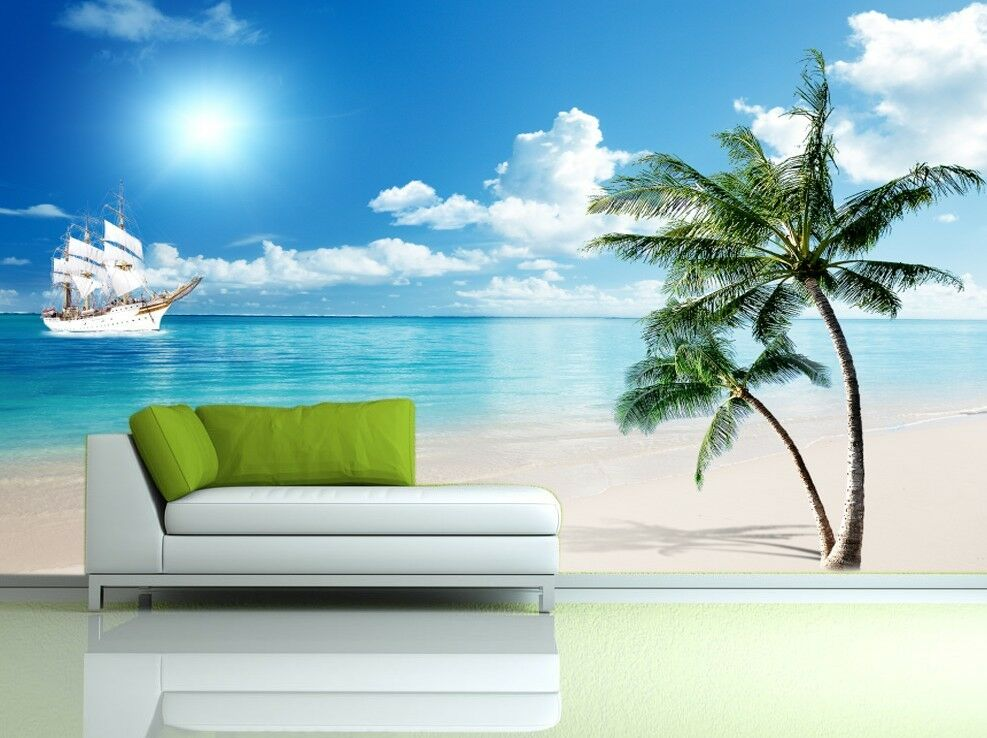3D Beach Tree Boat 7 Wall Paper Murals Wall Print Wall Wallpaper Mural AU Summer