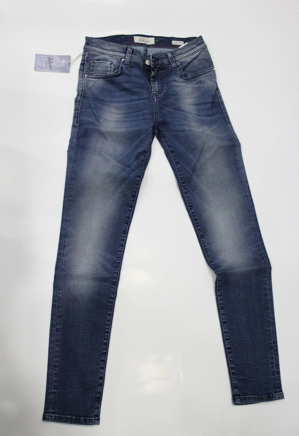 FIFTY FOUR Feoff Feoff Feoff Jeans Pantalone Donna Super Skinny Fit vita alta Blu 017c78