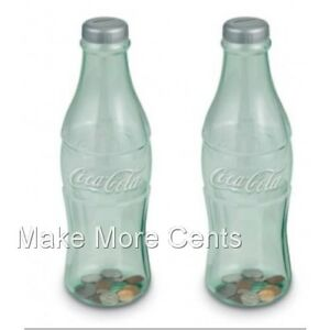 Coke-Coca-Cola-Coin-Bottle-Banks-Pack-of-2-Made-in-USA-FREE-SHIPPING