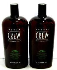 American Crew Tea Tree 3 in 1 Shampoo Conditioner Body Wash 33.8 Liter Set of 2