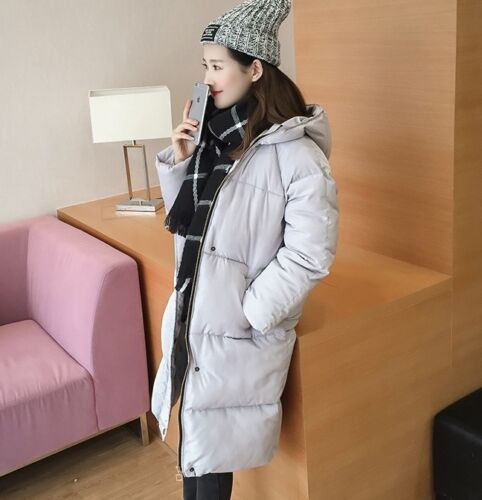 Comodo caldo piumino lungo donna lungo morbido grigio sportivo cappuccio 1222