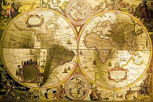 A Poster Vintage Style Double Hemisphere World Map Picture - World map to print a4