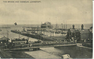 PC23522 The Bridge and Harbour. Lowestoft. 1908