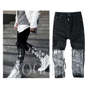 Mens White Painted Biker Jeans Zipper Skinny Slim Denim Distressed ...