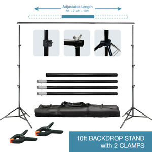 10Ft Adjustable Background Support Stand Photo Video Backdrop Kit Photography 761691356813