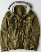 American Eagle Men's Patch Military Jacket Medium Large Or Xl Olive